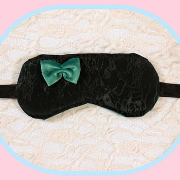 Large Soft Sleep Mask - USA Made - Night Light Blocking -  Seafoam Green Velour Bow - Woman Present - Comfortable Elastic