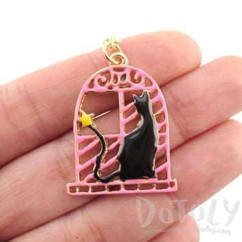 Black Cat in a Window Shaped Pendant Necklace | Animal Jewelry