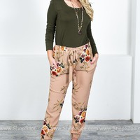Floral Taupe Sheer Pants