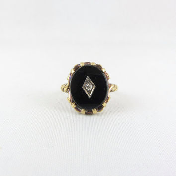 Art Deco 10K Gold Black Onyx Diamond Ring Size 6 Vintage Engraved Setting Signed Yellow Gold Fine Jewelry