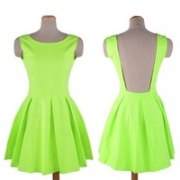Zeagoo Sexy Spring Neon Green Cute Pleated Skater Skirt Bandage Dress