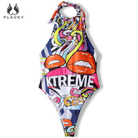 2017 Sexy Colorful Lip Printed High Cut Trikini Push Up Monokini Bathing Swim Suit For Women Thong Swimwear One Piece Swimsuit