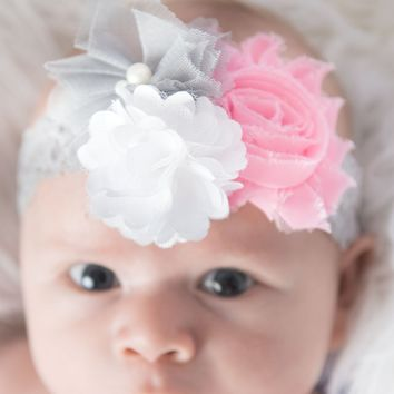 Grey Elastic headband, pink flower headband, white headband, baby headband, wedding headband, flower girl headband, cake smash outfit,