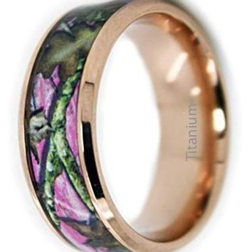 CERTIFIED Camo Wedding Rings by Pink Camo Titanium Wedding Band Rose Gold Plated