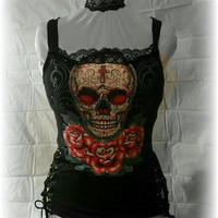 Women's Skull and Lace Tank Black Corset Back