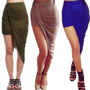 Womens Wrap Over Asymmetric Side Split Gypsy Drape Midi Mini Bodycon Skirt