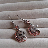 Closing sale - Fantasy copper unicorn silvertone  charm  dangle earrings