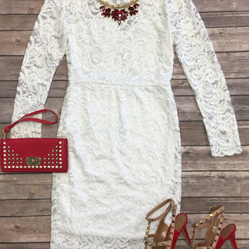 From the Heart Lace Dress: White