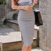 Light Gray Sleeveless Midi Dress