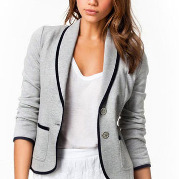 Grey Long Sleeve Blazer