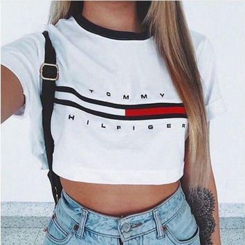 ONETOW White 'Tommy Hilfiger' Letter and Logo Print T-Shirt