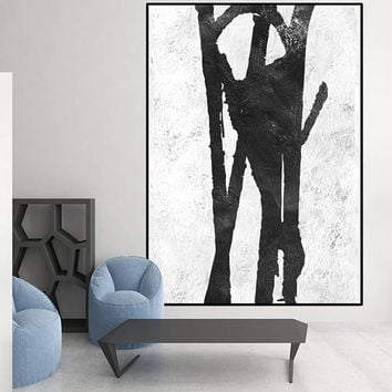 original Acrylic painting black and white, large abstract painting, extra large wall art, Contemporary Painting