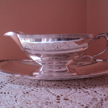 Gravy Boat and Tray by Portsmouth Silverplate Elegant Sauce Serving Dish Detached Matching Drip Tray Fine Quality Vintage Tableware
