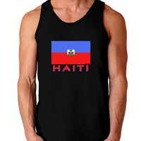 Haiti Flag Dark Dark Loose Tank Top