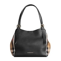 Tote Bag Handbag Authentic Burberry Small Canter in Leather and House Black Color Made in Italy