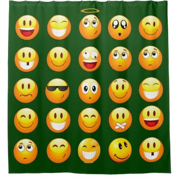 dark green emoji bathroom shower curtain