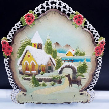 Bavarian Alps Christmas Vintage German Die Cut Cardboard Sign Calendar Top Numbered Marked Large 16 by 16