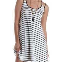 White Combo Strappy Striped Tank Dress by Charlotte Russe