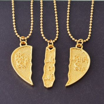 """Engraved """"Big Sis MOM Little Sis"""" Love Heart Necklace"""
