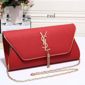 YSL tassell Women Shopping Leather Metal Chain Crossbody Satchel Shoulder Bag Red