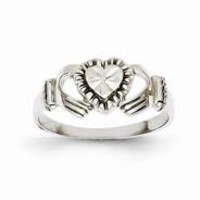 14k White Gold Child's Polished & Diamond-Cut Claddagh Ring