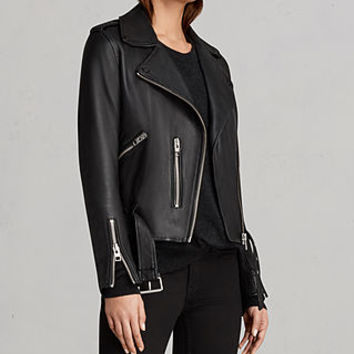 ALLSAINTS US: Womens Balfern Leather Biker Jacket (Black)