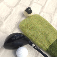 Sheep Golf Club Cover, made in Scotland, UK Shop, pure wool, Fathers day gift, golf lovers gift, sheep lovers gift, gift for dad