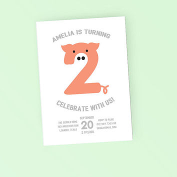 Printable Birthday Party Invitation - Cute Pig Third Birthday invite