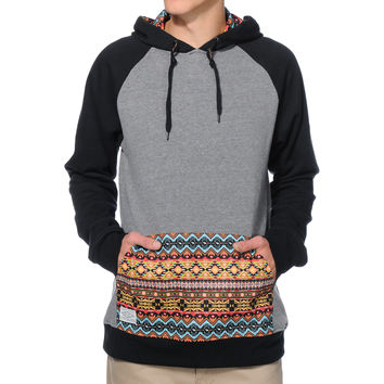 Empyre Argent Charcoal & Black Print Pocket Pullover Hoodie at Zumiez : PDP