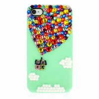 Handmade Bling sparkle diamond crystal pearl Rhinestone iPhone 6 iPhone 5s 5c 5 4s  case cover Hot Air Balloon green