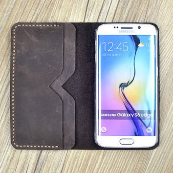 Distressed leather iPhone 6s Plus Case, iPhone 6s Leather Sleeve, iPhone Wallet With Card Slots, Thanksgiving Gift, H426
