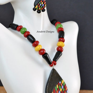Black and multicolor terracotta necklace set, Polymer clay teardrop pendant necklace set **Free US shipping**