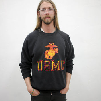 vtg black usmc unites states marine corps sweater, america, long sleeve, ironic vintage tumblr soft grunge vaporwave aesthetic fashion