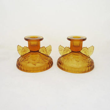 Sowerby Butterfly Amber Candle Holders, Pair of Sowerby Candle Holders, Amber Glass Candle Holders, 1930s Candle Holders