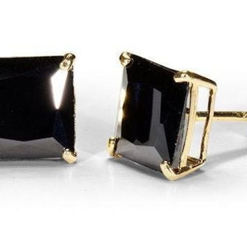14K Solid Yellow Gold Princess Square Black Onyx  CZ Stud Earrings Basket .