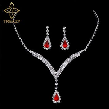 TREAZY Charming V Shaped Bridal Jewelry Sets Red Crystal Teardrop Necklace Earrings Wedding Jewelry Sets for Women Party Gifts