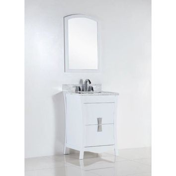 24 in. Single sink vanity with white carrara top