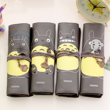 1 Pics Black School Pu Leather Roll Cartoon Pen Pencil Case Totoro Kawaii Cute Pencil Pouch Stationery Storage Organizer Supply