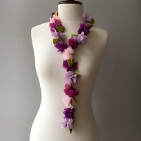 Flowers with Green Leaves Lariat Necklace, Bracelet or Belt, Pink and Purple