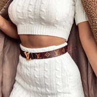 LV classic tide brand men and women simple wild smooth buckle belt