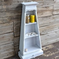 Shabby Chic Vintage White Wooden Lighthouse Spice Rack - Wall Shelf