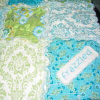Stunning Turquoise, Blue & Green Rag Quilt - Made to order