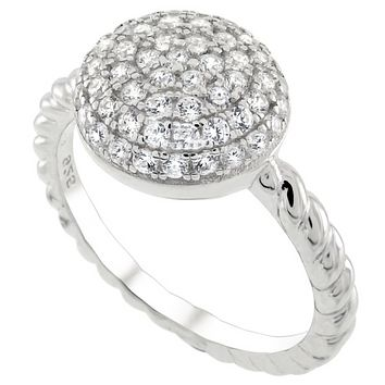 .925 Sterling Silver Micro Pave Dome Engagement Ladies Ring Size 5-10 Round Cut