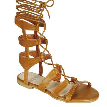 ONGEE VALLEY GLADIATOR SANDALS - TAN