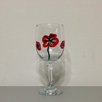 Wine Glasse with Hand Painted Red Poppies