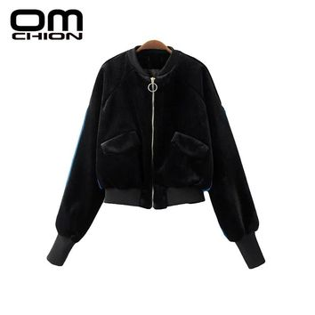 New Autumn Bomber Jacket Fashion Patchwork Long Sleeve Stand Coat Women Fashion Casual Zipper Pockets Outwear