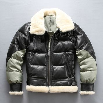 Free .Brand new mens goatskin jacket,winter warm 400g 80% white duck down leather jacket,classic B3 quality fur coat.