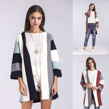 Women Multicolor Stripe Middle Long Section Long Sleeve Knit Cardigan Sweater Coat