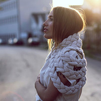 Braided Shrug in Chalk
