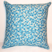 "Pillow Covers 18"" Set of Two - Blue Mosaic Pattern"